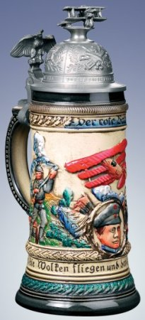 LE German Beer Stein Red Baron with Plane on Lid
